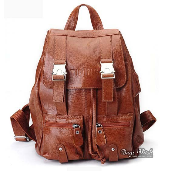 Leather travel bag, leather school backpack - BagsWish