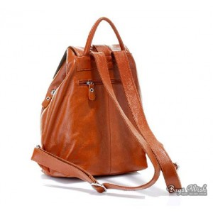 brown leather back pack purse