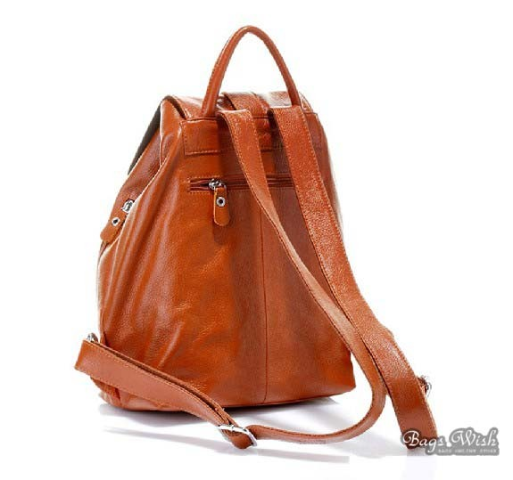 Brown Leather Backpack Satchel Back Pack Purse