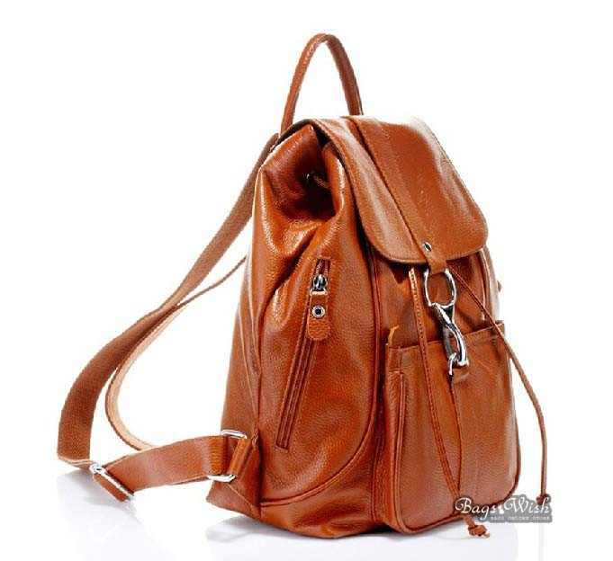 Leather backpack satchel, leather back pack purse - BagsWish