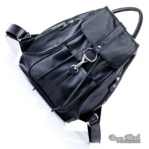 black Leather backpack satchel