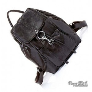 coffee leather back pack purse