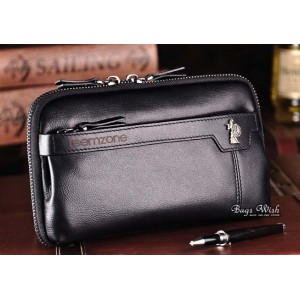 black mens leather zip wallet