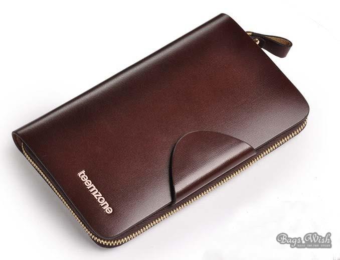 Mens Leather Zip Around Wallet Coffee Mens Luxury Wallet