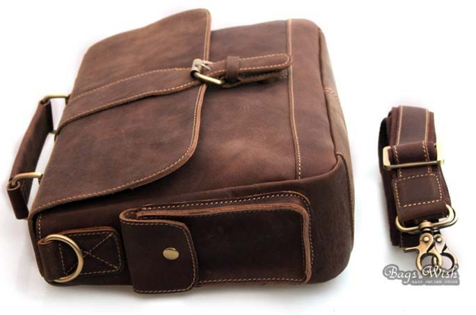 High quality leather briefcase, 13 laptop bag - BagsWish
