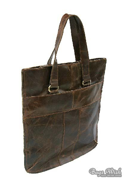 Soft leather satchel handbag, coffee tote bag leather - BagsWish