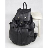 Leather backpack for women, black school backpack
