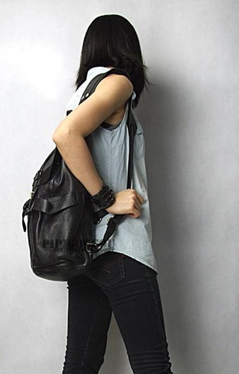 Leather Backpack For Women Black School Backpack Bagswish