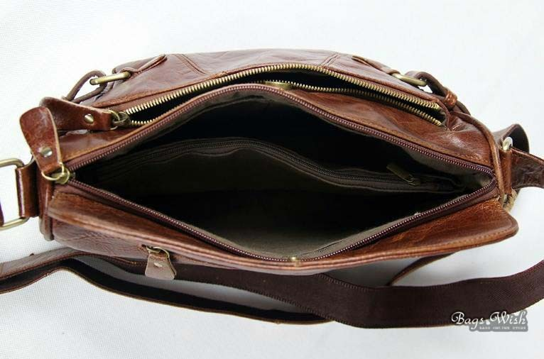 Leather womens messenger bag, brown leather travel bag - BagsWish