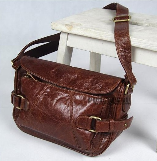 Leather womens messenger bag, brown leather travel bag - BagsWish