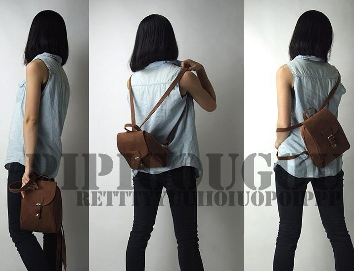Small Leather Backpack Vintage Brown Leather Backpack