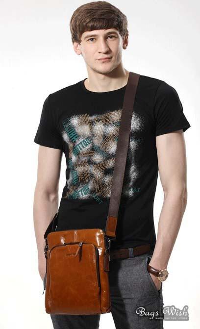 Mens Black Leather Vertical Messenger Bag - Best Model Bag 2016