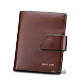 Slim leather wallet, brown small leather wallet