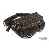 Zippered leather pouch black, coffee waist pack for men