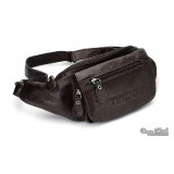 Mens fanny pack black, coffee leather waist pack
