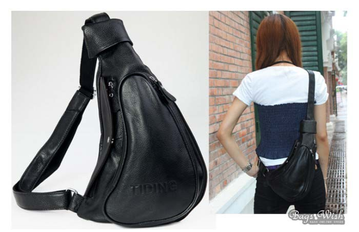 One Strap Backpack For Black Coffee Leather Purse