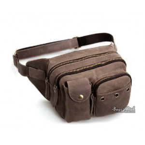 Leather waist bags for men, coffee leather waist purse