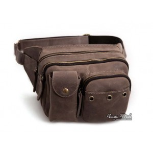brown leather waist purse