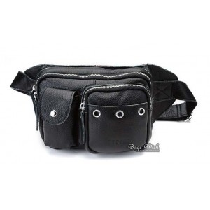 black Leather waist bags for men