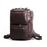Leather messenger backpack black, coffee mens briefcase bag