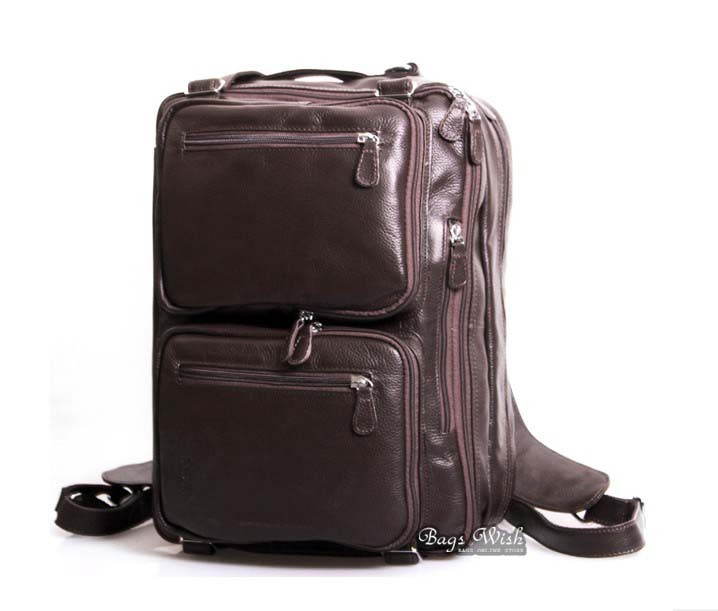 Leather messenger backpack black, coffee mens briefcase bag - BagsWish