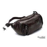 Leather travel pouch, coffee leather waistpack