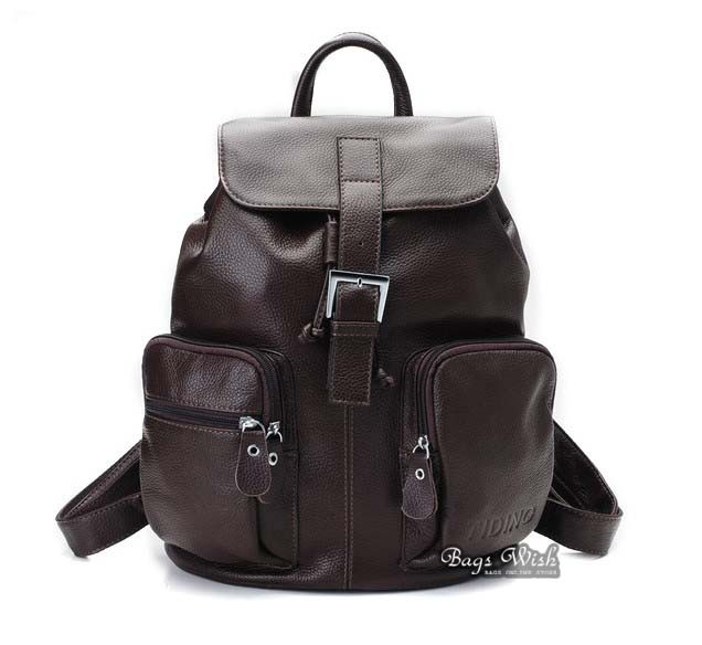Leather school backpack black, coffee leather satchel bag