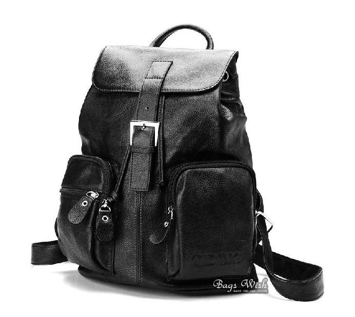 Leather school backpack black, coffee leather satchel bag - BagsWish