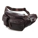 Men waist bag, coffee leather zipper pouch