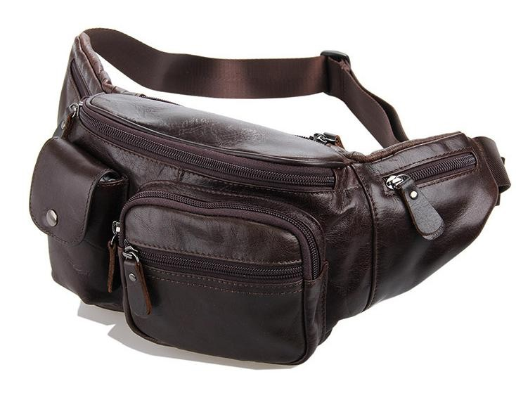 low price numerous in variety exceptional range of styles Men waist bag, coffee leather zipper pouch - BagsWish
