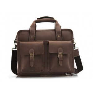 brown Antique leather briefcase