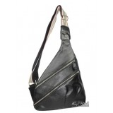 Leather one shoulder backpack, black leather purse bag