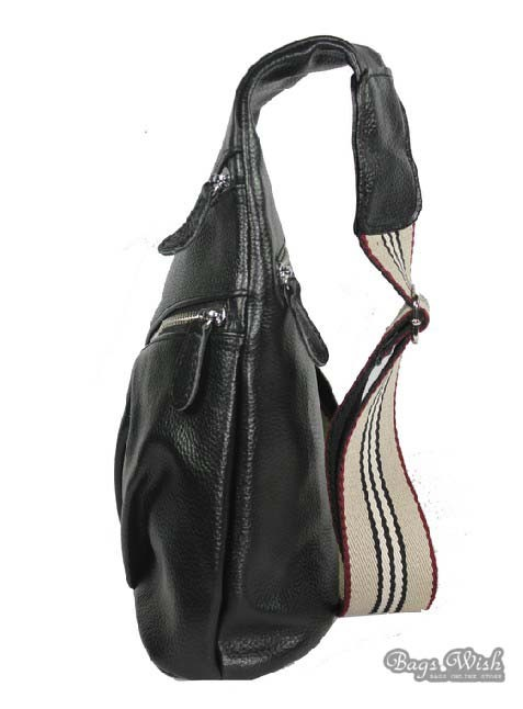 Leather one shoulder backpack, black leather purse bag - BagsWish