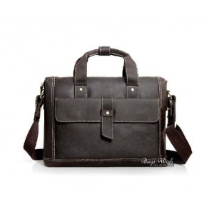 Mens briefcase bag, coffee old leather briefcase