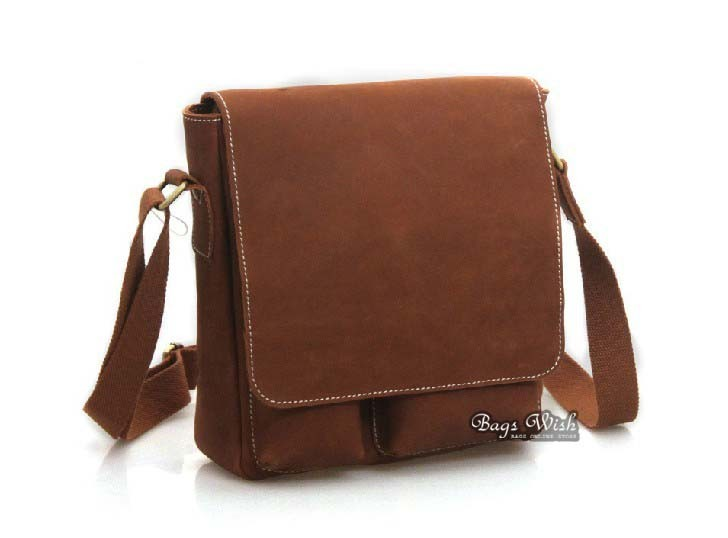 Mens leather messenger bag, brown mens leather satchel - BagsWish