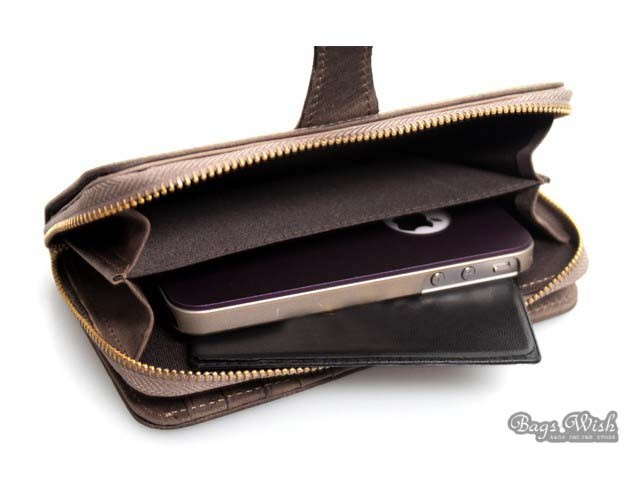 Long Leather Wallet For Men Mens Wallet Leather Brown