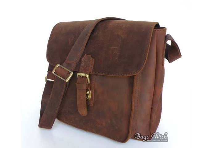 Mens messenger bag, brown mens over the shoulder bag - BagsWish