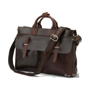 Genuine leather briefcase coffee, brown leather notebook bag
