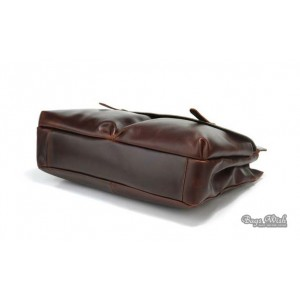 Genuine leather briefcase coffee