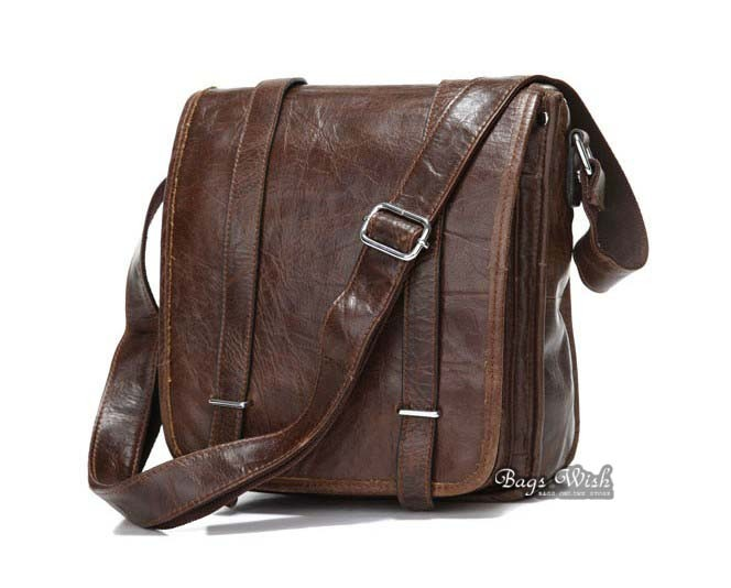 Mens shoulder bag coffee, mens messenger leather bag - BagsWish