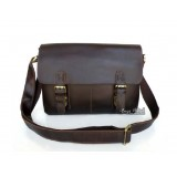 Flap over briefcase, coffee handmade leather bag