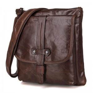Mens small messenger bag, coffee mens vintage leather bag