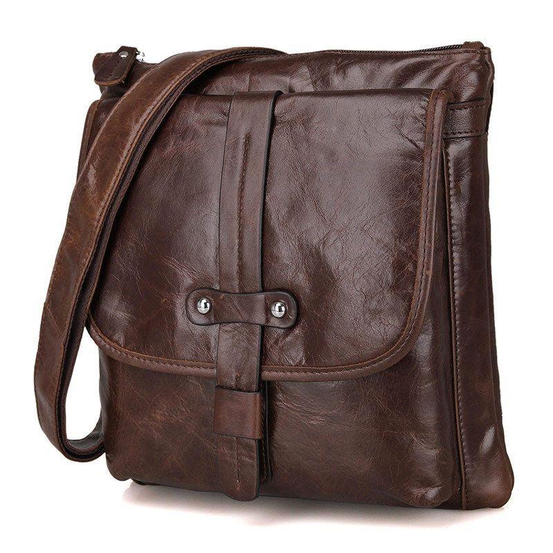 Mens small messenger bag, coffee mens vintage leather bag - BagsWish