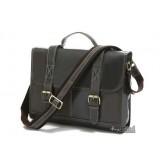 Lawyer briefcase, black mens leather brief case