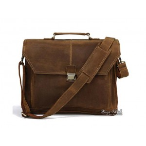 Men leather bag, coffee mens briefcase bag