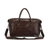 Leather travel bag, coffee leather shoulder bag
