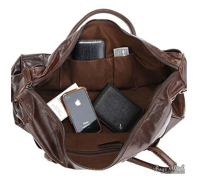 Leather travel bag, coffee leather shoulder bag - BagsWish