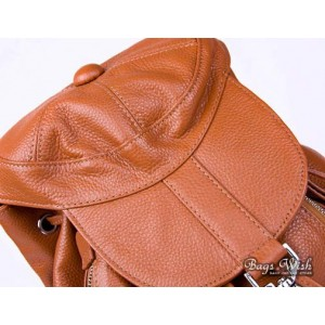 yellow leather backpack purse for women