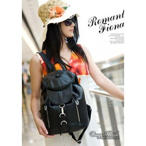 black leather backpack purse for women
