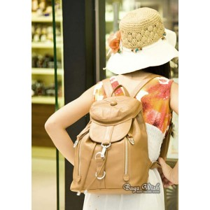 apricot leather backpack purse for women